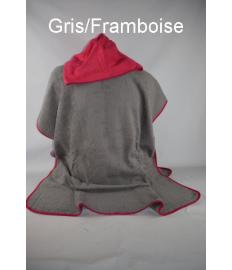 Poncho Adulte à personnaliser Gris/Rose Framboise