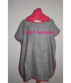 Poncho Orion Gris/Rose Framboise/ biais framboise